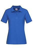 Футболка поло женская ярко синяя с воротником Stedman - BRRСТ3100