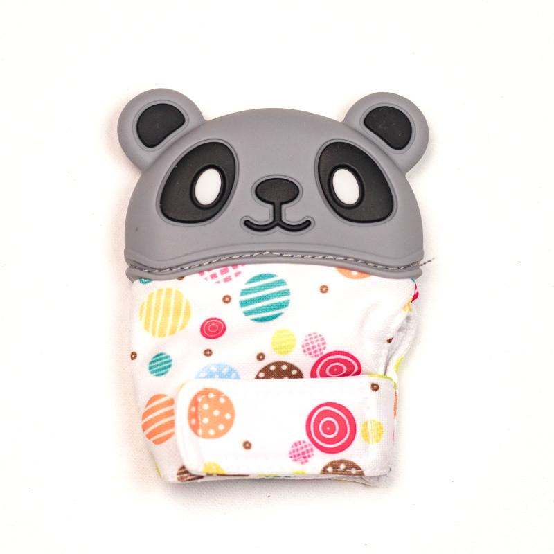 Варежка-грызунок SLINGOPARK «Панда» (серый с кружочками)