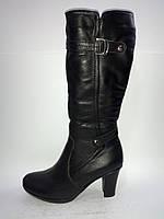 Кожаные женские черные зимние сапоги на каблуке 40р Digsi
