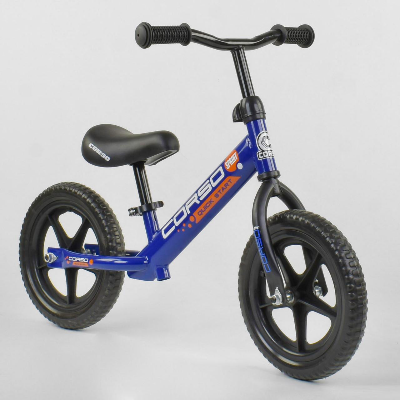 Велобег-беговел детский со стальной рамой Corso 43118, колеса пена 12 дюймов, синий