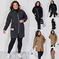 Женское стильное пальто на молнии №3165 (р.48-62) в расцветках