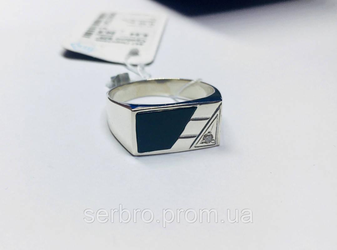 Серебряная печатка с ониксом и цирконом Фабио