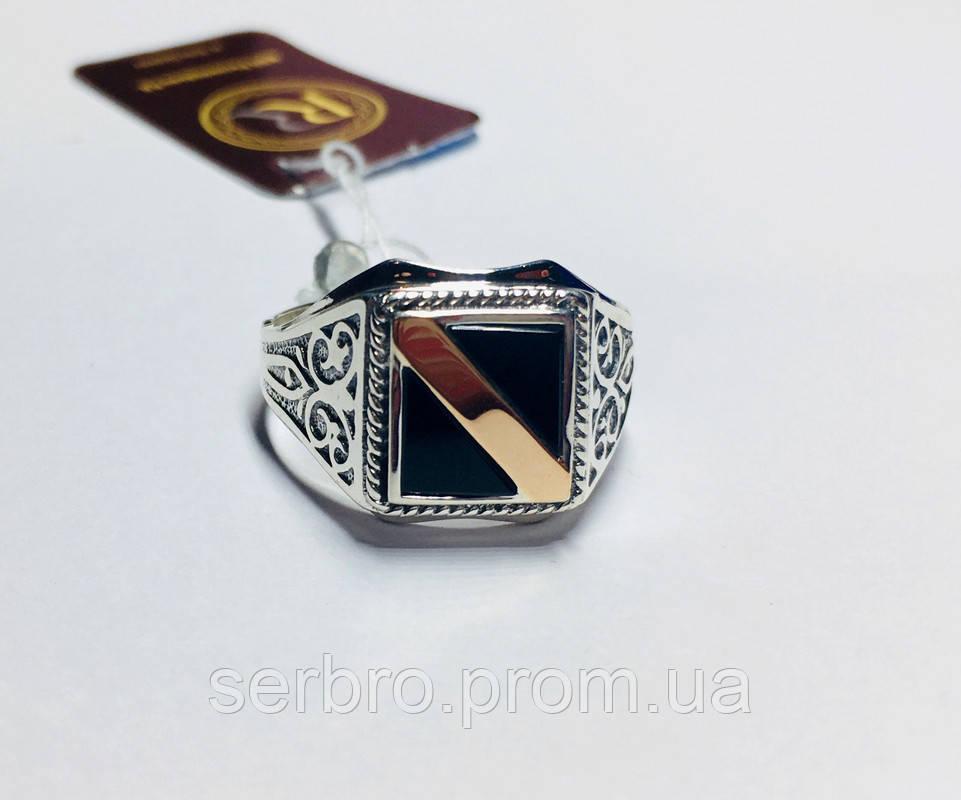 Серебряная печатка  с  золотом и ониксом Энрике