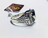 Серебряная печатка  с  золотом и ониксом Энрике, фото 4