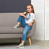 Вишиванка для дівчинки трикотажна Орнамент синій