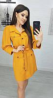 Платье - рубаха женское 7015 (44 46 48) (цвета: горчица, пудра, хаки) СП, фото 1