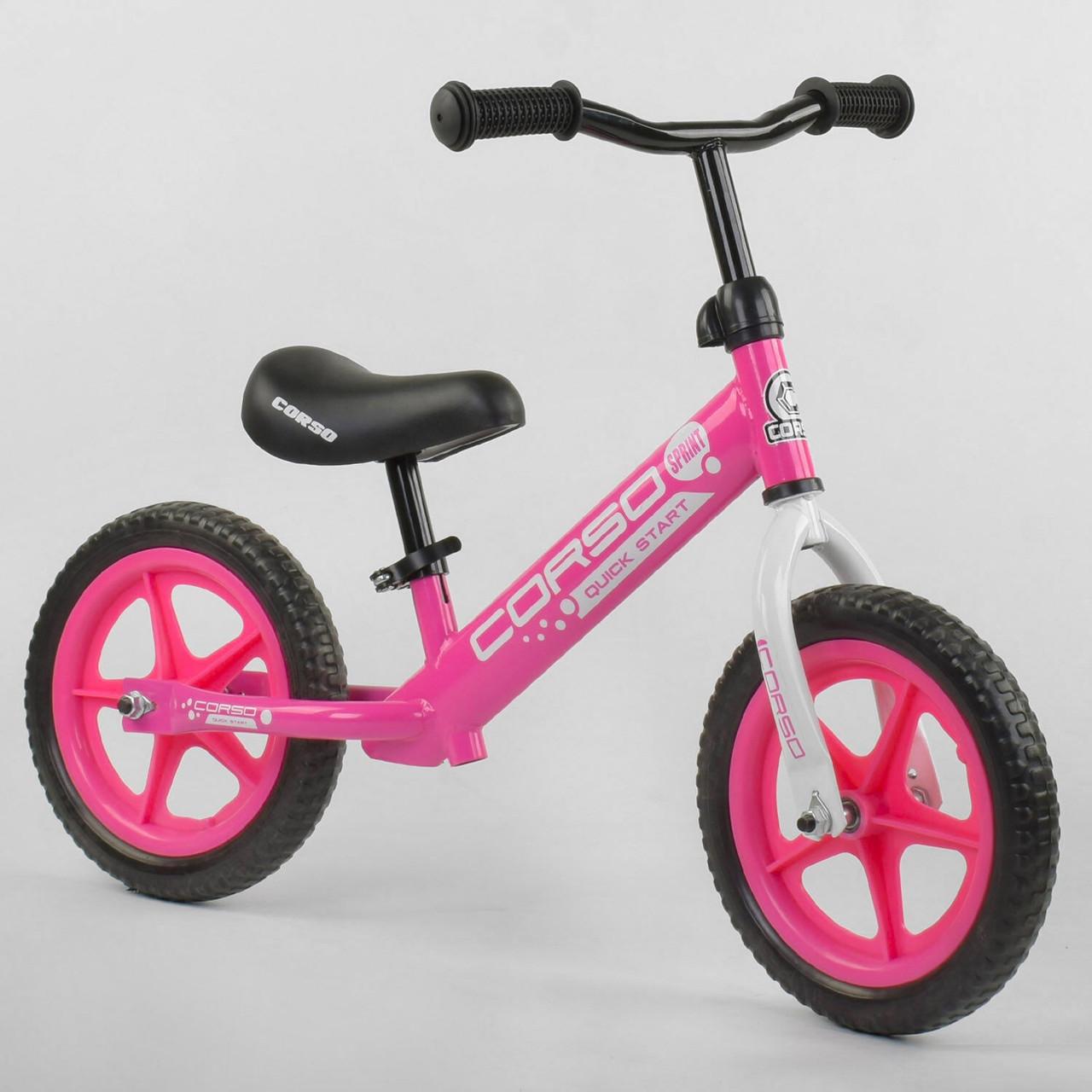 """Беговел-велобег детский Corso 21001, стальная рама, колесо 12"""" EVA (пена), розовый"""