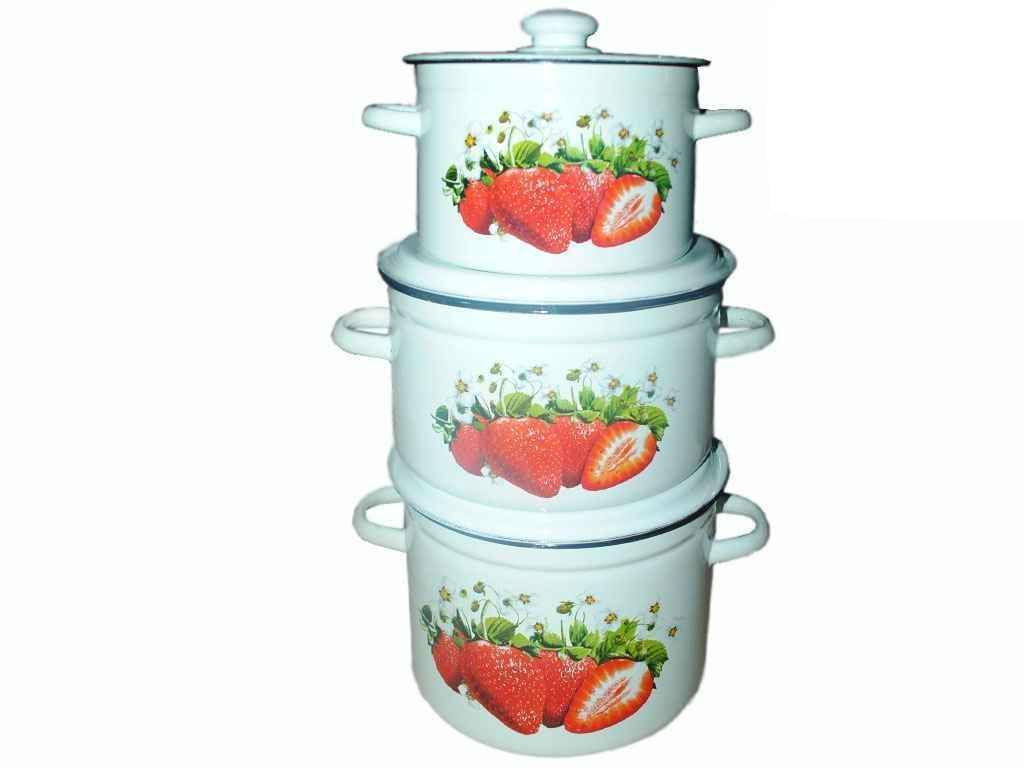 Набір емальованого посуду 3-х предм. ТМ Idilia №262 Полуничний цвіт (441945)