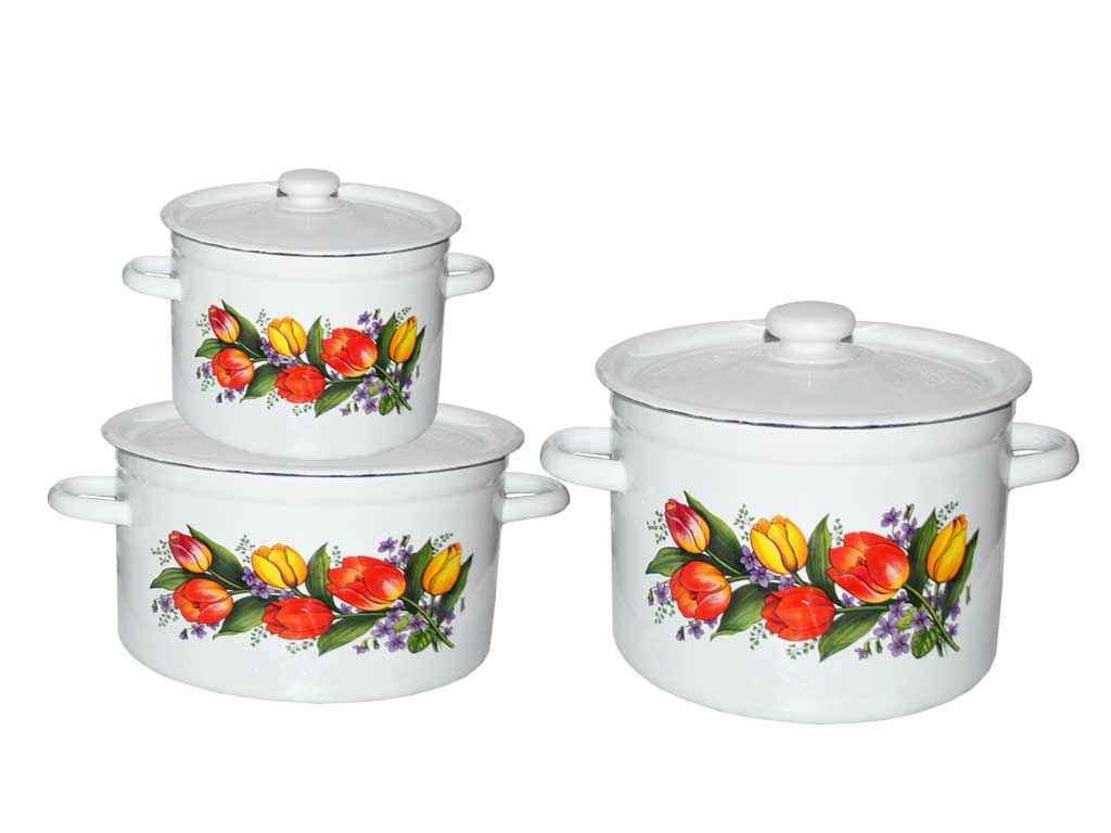 Набір емальованого посуду 3-х предм. ТМ Idilia №262 Весенний букет (456047)