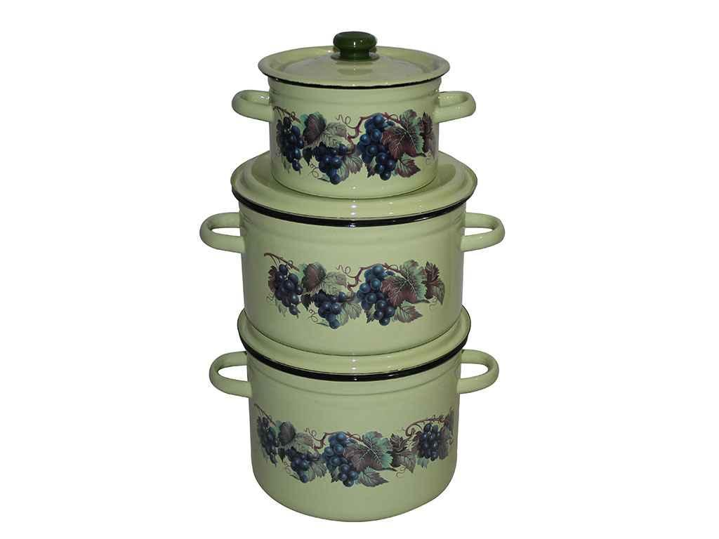 Набір емальованого посуду 3-х предм. ТМ Idilia №244 Виноградна лоза (434769)