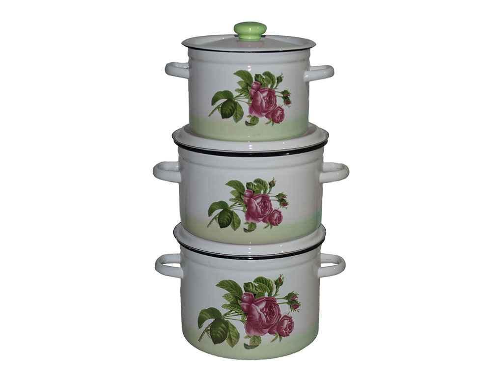Набір емальованого посуду 3-х предм. ТМ Idilia №263 Троянда кавказу (зелена) (434770)