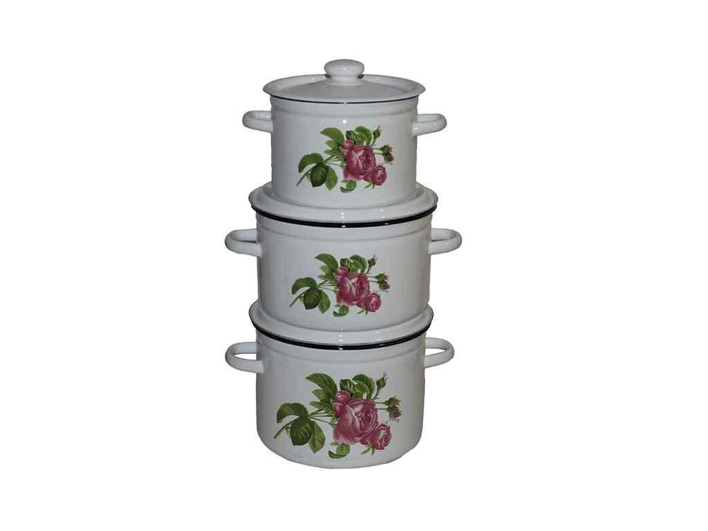 Набір емальованого посуду 3-х предм. ТМ Idilia №263 Полуничний цвіт ( 386270)