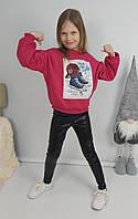 Теплый объемный свитшот на флисе для девочки 116-134 р
