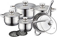 Набор кухонной посуды  Royalty Line RL-123210 предметов Серебристый (0045)