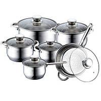Набор кухонной посуды Royalty Line RL-1231 12 предметов Серебристый (0044)
