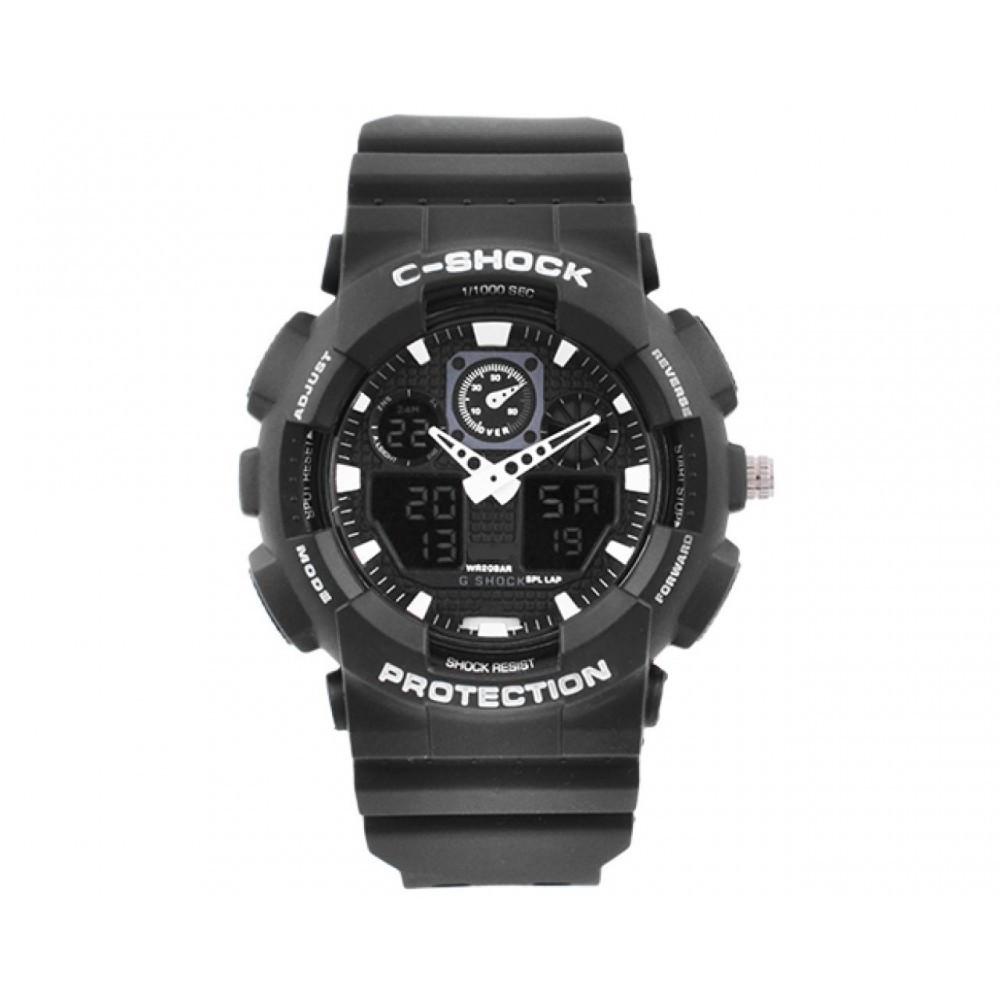 Мужские наручные часы S-SHOCK с подсветкой Black-White (LS1010053800)