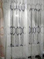 Тюль готовая пошитая с тесьмой белая с тройным кружевом 160х295, фото 1