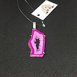 Жеода агата яркий розовый кулон с жеодой агата в серебре Индия, фото 4