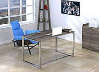 Стол письменный в стиле Loft Q-135-без царги и без отверстия под провода-LoftDesign Дуб Палена, серебристый