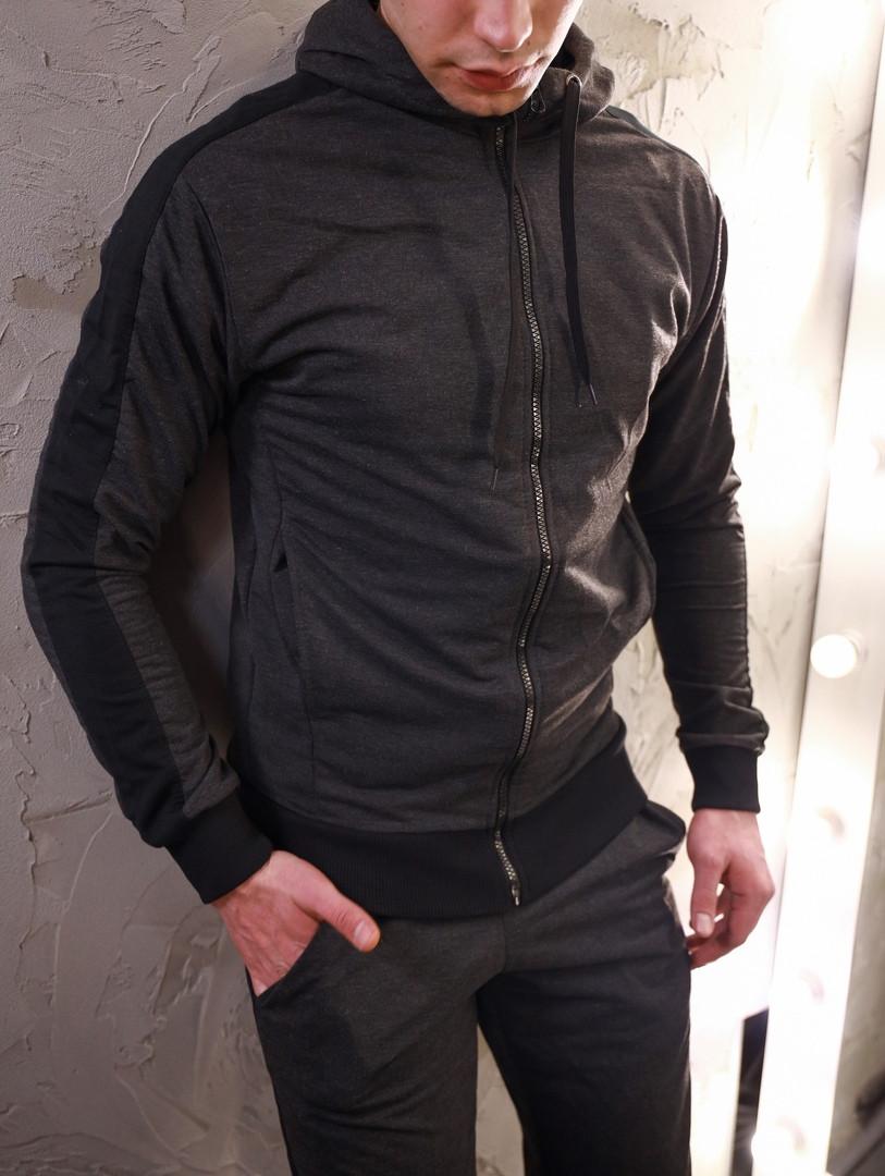 Мужской спортивный костюм  змейка графит
