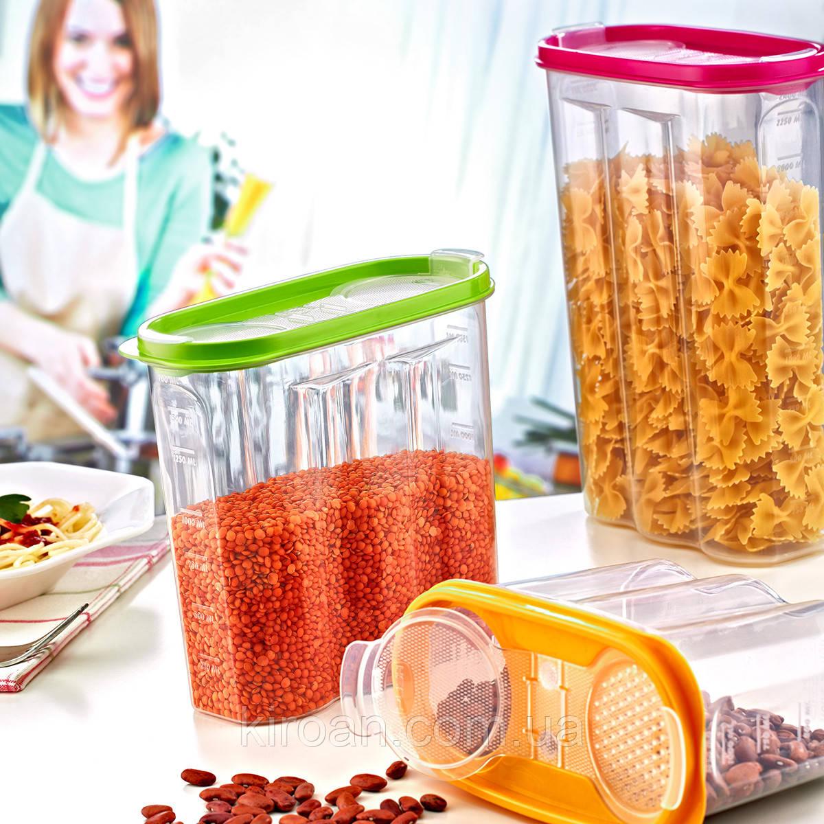 Емкость для хранения сыпучих продуктов 2,4 л Irak Plastik (Турция)  17 x 24,5 x 7 см