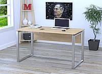 Стол письменный в стиле Loft Q-135-с царгой, без отверстия под провода-LoftDesign Дуб Борас, Серебристый
