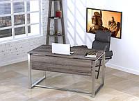 Стол письменный в стиле Loft Q-135-с царгой, без отверстия под провода-LoftDesign Дуб Палена, Серебристый