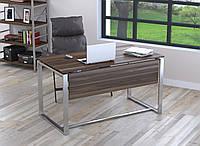 Стол письменный в стиле Loft Q-135-с царгой, без отверстия под провода-LoftDesign Орех Мадена, Серебристый