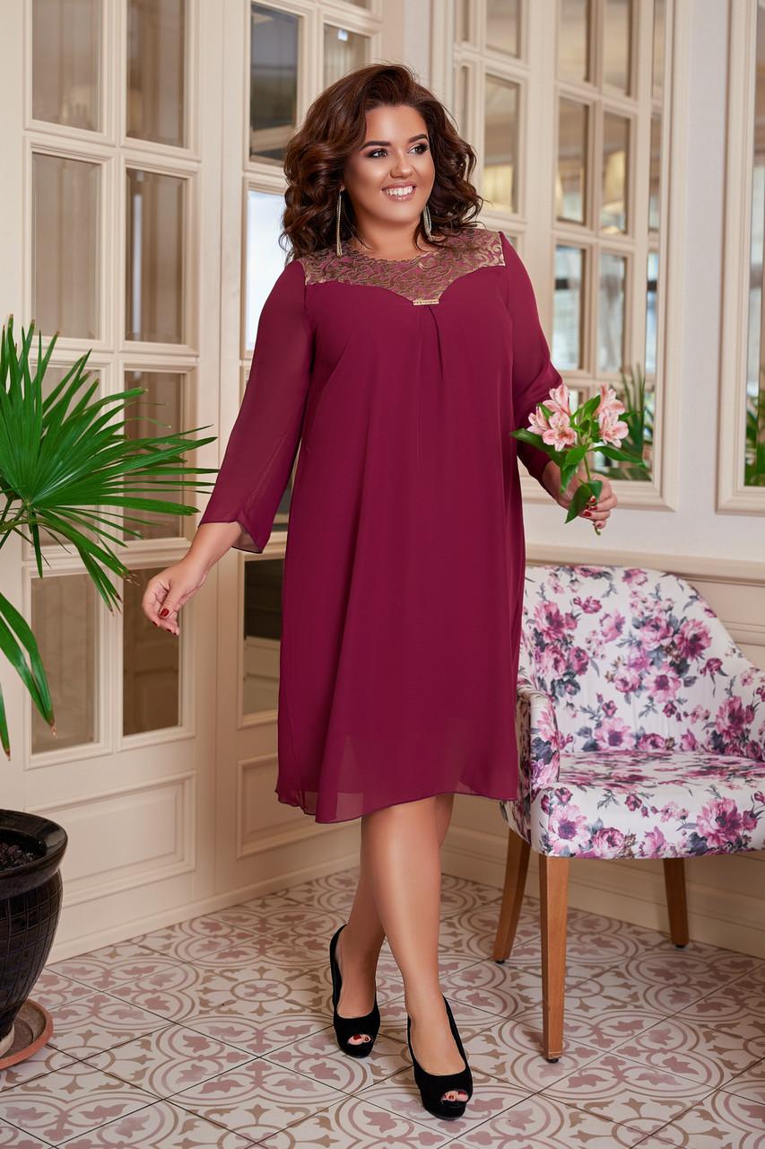 Повітряне жіноча сукня вільного крою Шифон Розмір 50 52 54 56 58 60 В наявності 4 кольори
