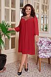 Повітряне жіноча сукня вільного крою Шифон Розмір 50 52 54 56 58 60 В наявності 4 кольори, фото 4