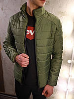 Куртка мужская демисезонная осенняя весенняя утепленная зеленая хаки без капюшона