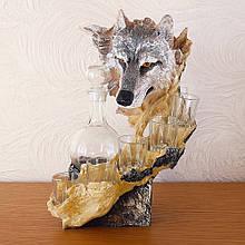 """Подарочный коньячный набор """"Волк"""" стеклянный графин и 6 стопок на подставке из полистоуна"""