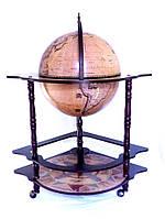 Глобус бар напольный угловой из дерева на 3-х ножках с рисунком зодиак