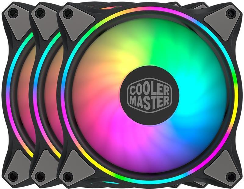 Набор вентиляторов Cooler Master MasterFan MF120 Halo 3in1 ARGB Sync+Wired ARGB Controller (MFL-B2DN-183PA-R1), 120х120х25 мм, 4pin, черный
