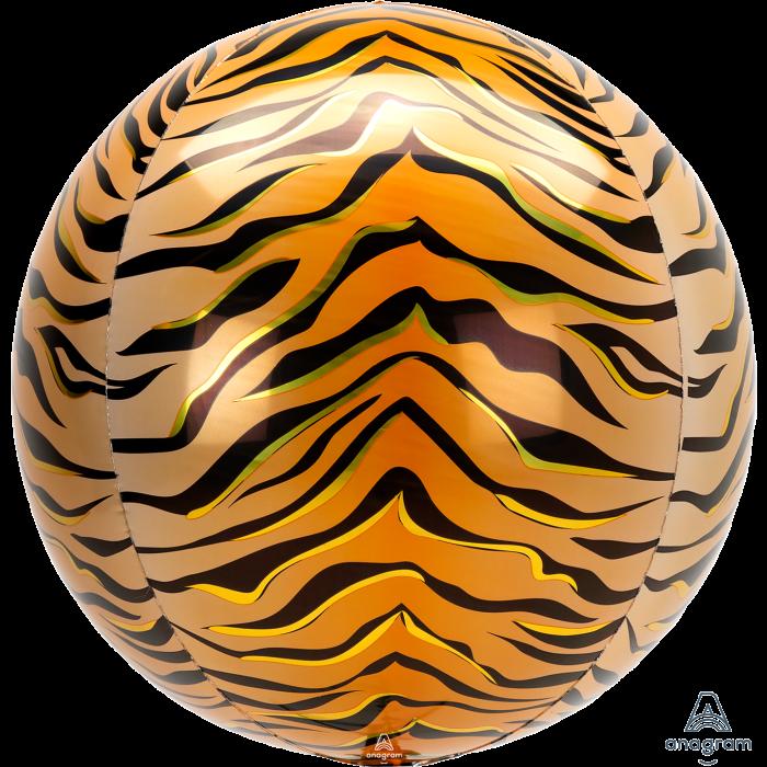"""Фольгированный шар 3d сфера А 16"""" Tiger Print Animalz Orbz"""