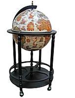 Глобус бар напольный деревянный беж-черный на 4-х ножках
