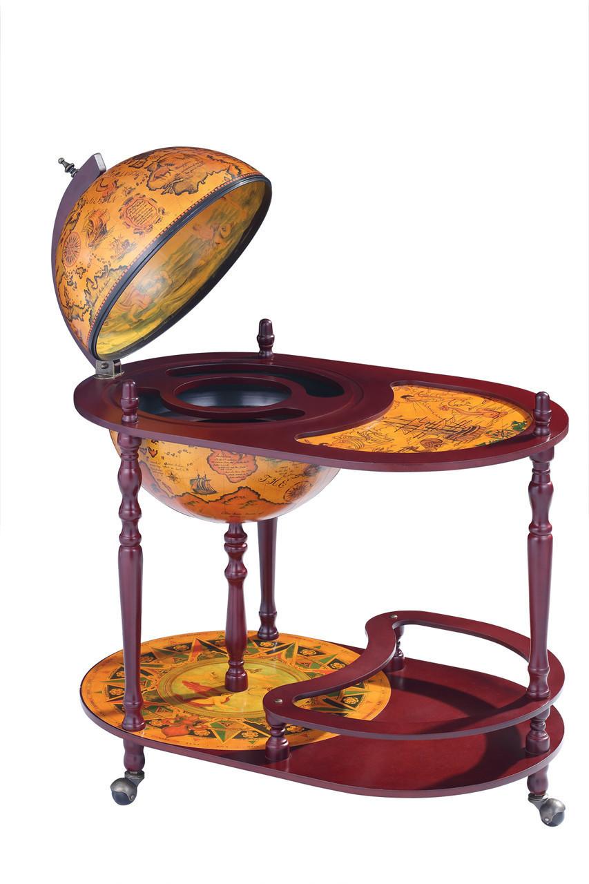 """Глобус бар напольный со столиком из дерева """"Древняя карта"""" на 3-х ножках"""