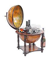 Глобус бар настольный коричневый деревянный на 4-х ножках