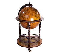 Глобус бар напольный коричневый деревянный на 3-х ножках