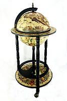 Глобус бар напольный деревянный бежевый, черная основа на 3-х ножках