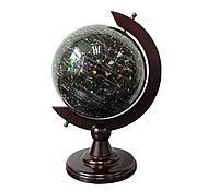 """Глобус — ночное небо """"Созвездия из полудрагоценного камня топаз"""" на деревянной подставке"""