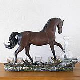 """Подарочный коньячный набор """"Конь"""" стеклянный графин и 6 стопок на подставке из полистоуна, фото 3"""