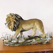 """Подарочный коньячный набор """"Лев"""" стеклянный графин и 6 стопок на подставке из полистоуна"""