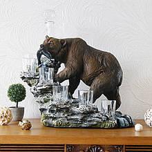 """Подарочный коньячный набор """"Медведь"""" стеклянный графин и 6 стопок на подставке из полистоуна"""