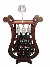 """Столик-бар деревянный """"Арфа"""" с 4-ма полочками для вина и 1 полочкой для бокалов"""