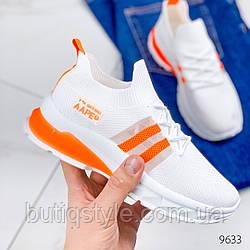 Женские белые кроссовки с оранжевыми вставками текстиль