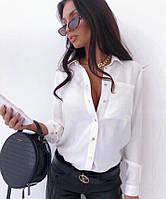 Блузка женская летняя 173 (42-44; 44-46; 48-50) (цвет: белый,черный,пудра) СП, фото 1