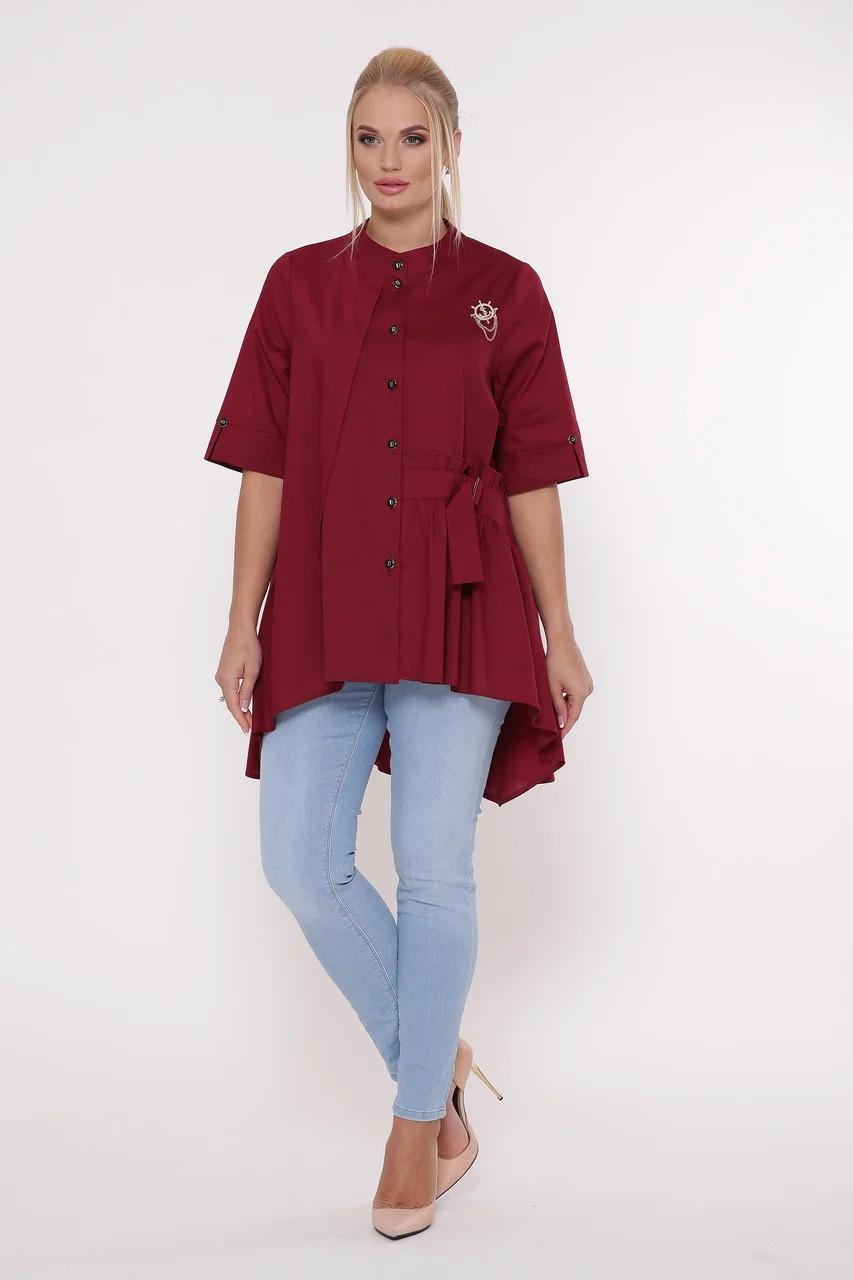 Асимметричная женская блузка Plus size, размер от 52 до 58