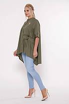 Асимметричная женская блузка Plus size, размер от 52 до 58, фото 2