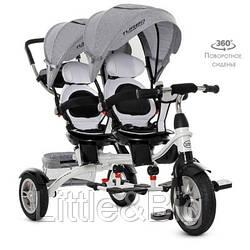 Велосипед трехколесный с ручкой детский Turbo Trike для двойни (M 3116TWA-19)